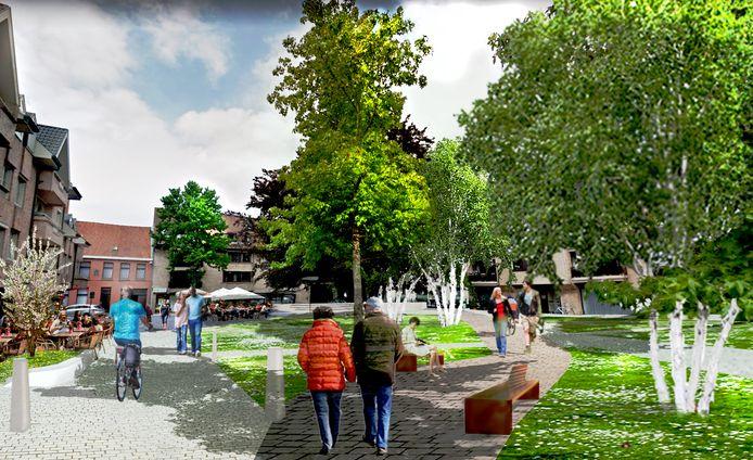 Enkele voorlopige conceptbeelden van hoe de stad de Melkmarkt in de toekomst ziet. Na opmerkingen van Izegemnaars kan het plan nog worden aangepast.