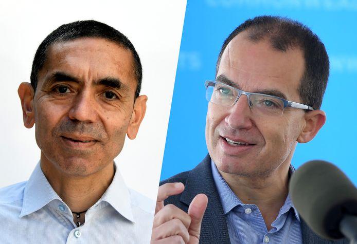 Uğur Şahin, medeoprichter van BioNTech, en Stéphane Bancel, de Franse CEO van Moderna.