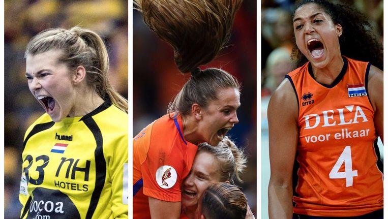 Hanbalster Tess Wester, voetbalster Vivianne Miedema en volleybalster Celeste Plak Beeld null