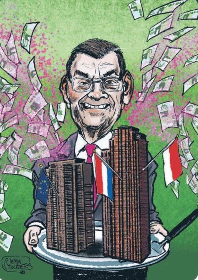 De cartoon van wethouder Van As. Misselijkmakend, vindt hijzelf.