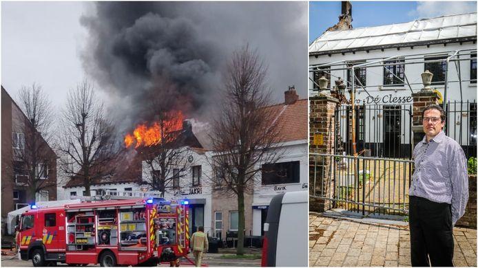 Links: de zware brand in De Clesse van eind december. Rechts: uitbater Patrick Konings (42).