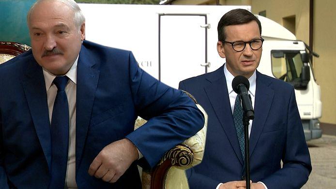 Wit-Russische president Aleksandr Loekasjenko (links) en Pools premier Mateusz Morawiecki (rechts).