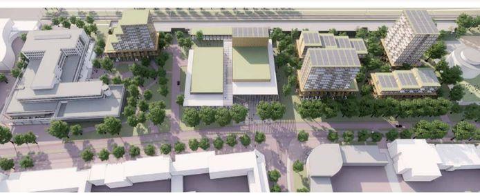 Plan voor de Raadhuislaan, met links het gemeentehuis en rechts de kantoortoren van Rabobank. De groene daken in het midden: nieuw theater De Lievekamp. Rechts daarvan vier woontorens, links het nieuwe woonzorgcomplex.
