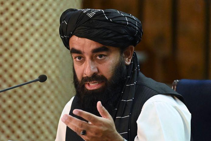 Le porte-parole des talibans, Zabihullah Mujahid, lors d'une conférence de presse à Kaboul, le 7 septembre 2021.