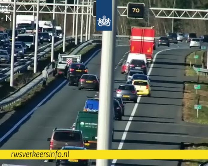 Ongeluk op de A2 bij Eindhoven.