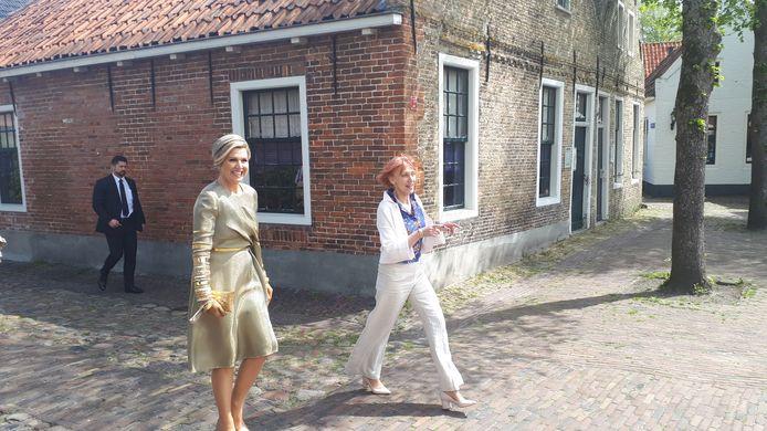 Koningin Maxima op bezoek in het Groningse vestingdorp Bourtange.