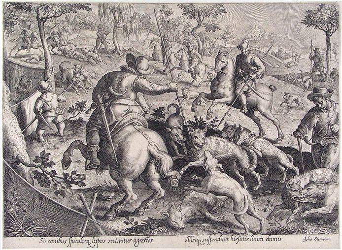 Wolvenjacht volgens een gravure uit 1596