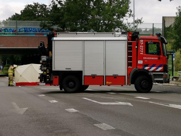 Met schermen werd het zwaargewonde paard aan het zicht onttrokken door de brandweer in Bennekom.