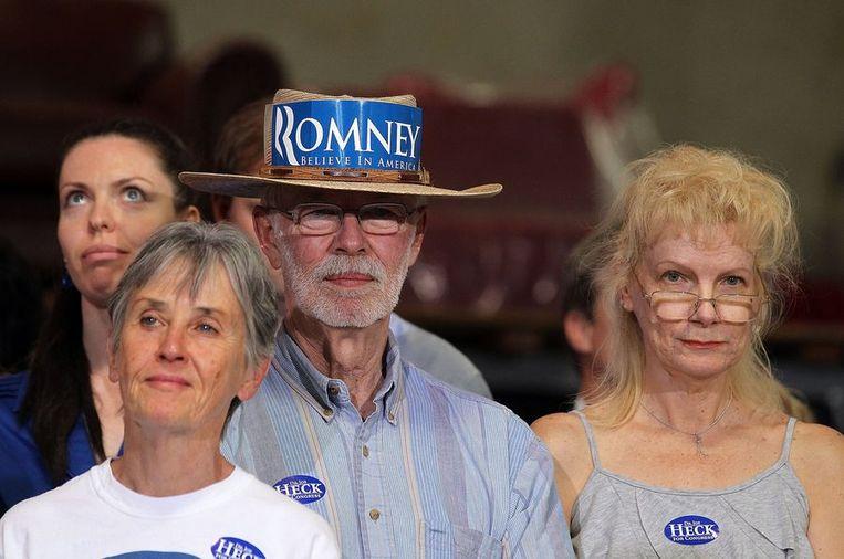 Supporters van Romney in Las Vegas. Beeld afp