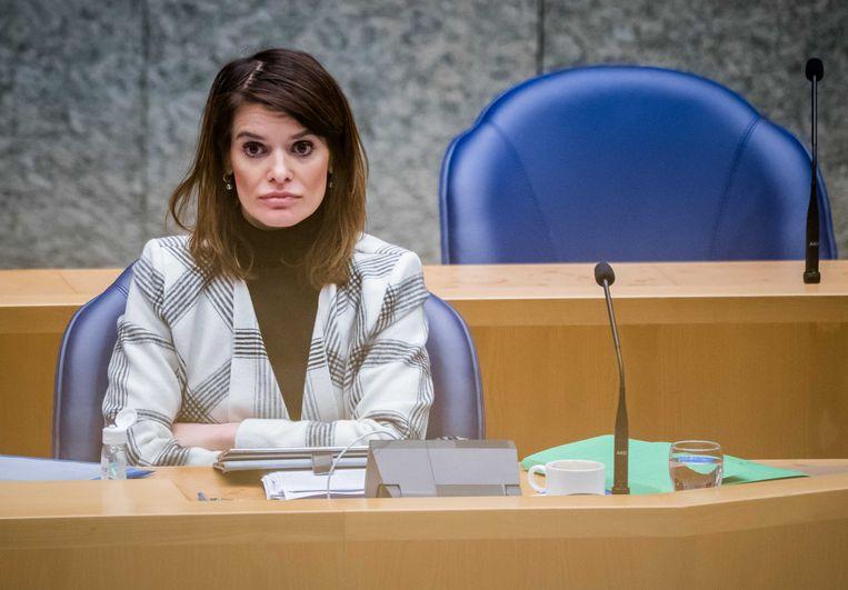 Staatssecretaris Barbara Visser van Defensie (VVD) tijdens het debat over de Defensiebegroting. Beeld ANP/Bart Maat