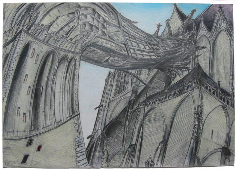 Paul Klemann: De Utrechtse Domtoren die weer aan de Domkerk wil vastgroeien, 1999, tekening. Beeld