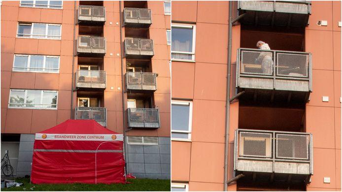 De man viel van de vijfde verdieping en het parket onderzoekt het balkon van de flat.