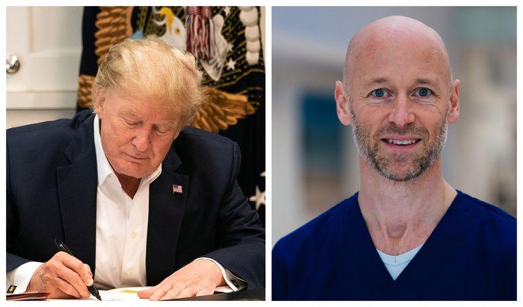 Intensivist Geert Meyfroidt (UZ Leuven): 'Donald Trumps ziekte kan de komende dagen nog wel verergeren, dus het is toch nog wel een week bang afwachten.' Beeld rv