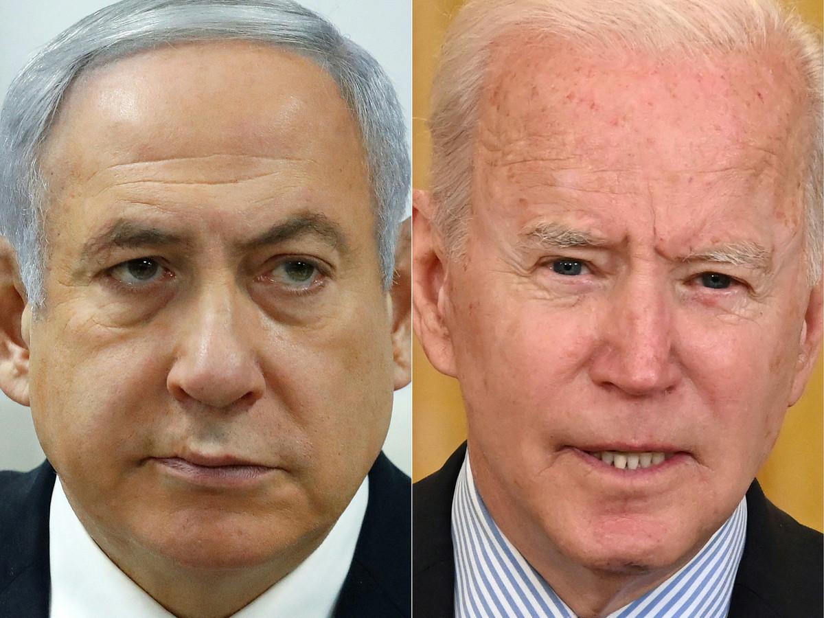 De Israëlische premier Netanyahu en de Amerikaanse president Biden op archiefbeeld.