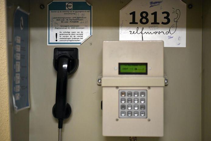 Een telefoon in de gevangenis van Antwerpen.