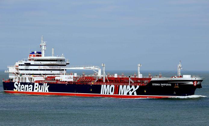 De Britse tanker Stena Impero is de inzet van een opgelaaide 'tankeroorlog' met Iran. Het schip is door de Revolutionaire Garde geënterd en in beslag genomen. Foto AFP