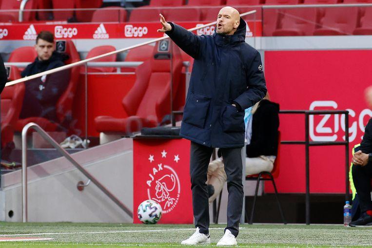 Ajax-trainer Erik ten Hag. Beeld Pro Shots / Stanley Gontha