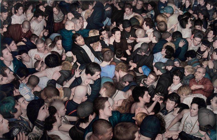 Dan Witz: Big mosh pit. Olieverf op doek.©  Beeld Dan Witz, courtesy of thegarageamsterdam.com