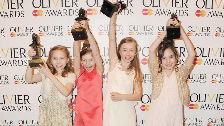 De vier meisjes die de titelrol in Matilda vertolken. Beeld getty
