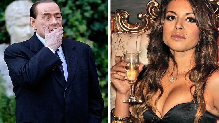 De rechtbank heeft voldoende bewijs dat Berlusconi (links) seks heeft gehad met Karima El Mahroug (rechts) in ruil voor geld en cadeaus. Beeld afp