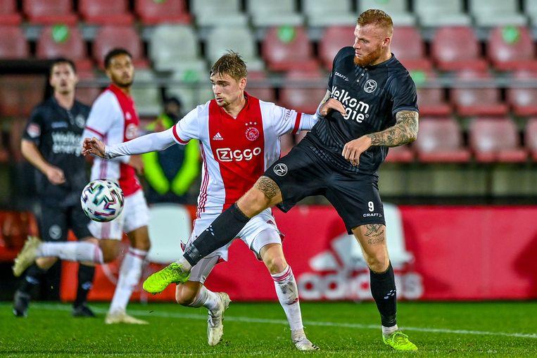 Kenneth Taylor van Jong Ajax maakte het enige doelpunt voor de thuisclub.  Beeld BSR Agency