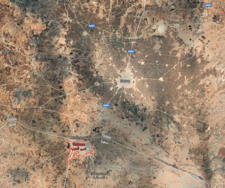 De Turks-Syrische grens waar het incident plaatsvond.