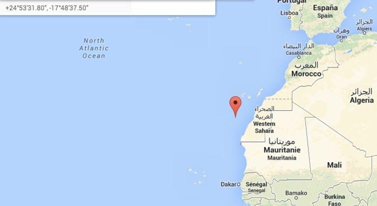 Op dit moment ligt de boot voor de kust van Marokko Beeld Google Maps