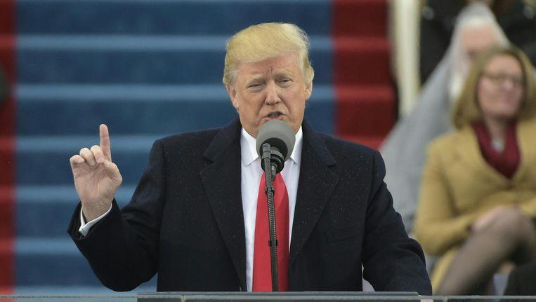 Donald Trump tijdens zijn eerste toespraak als 45ste president van de Verenigde Staten. Beeld afp