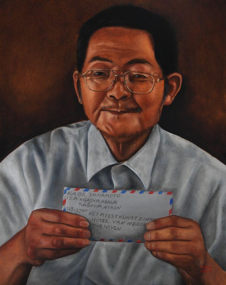 Dit is hem dan: Mr. Kaor Yamamoto, vereeuwigd door kunstenaar Rinus van Hall. Beeld Rinus van Hall