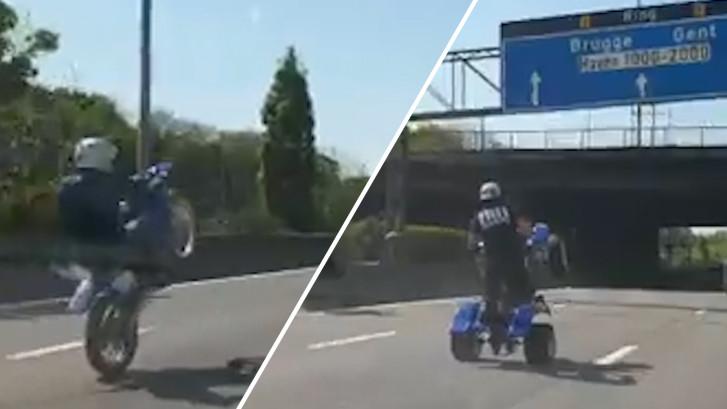 Motorrijders maken stuntbaan van Antwerpse Ring