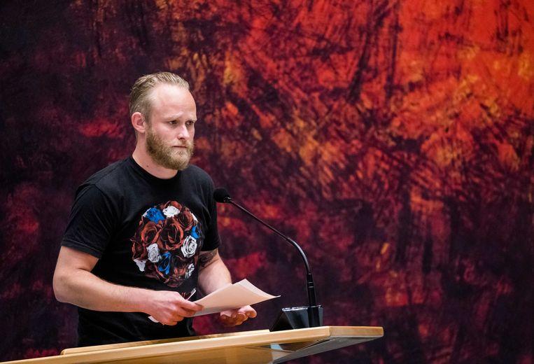 Peter Kwint (SP) in de Tweede Kamer tijdens het wekelijks vragenuur. Beeld ANP
