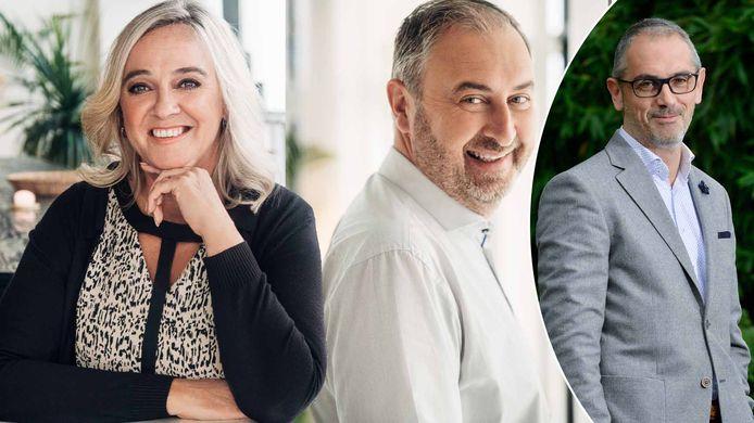 Links: kandidaten Sven en Veerle uit het nieuwe seizoen van 'Blind Getrouwd', rechts: belastingexpert Michel Maus.