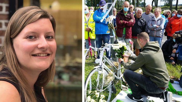 Niels De Vleeschouwer bevestigt een foto van zijn vriendin Kirsten De Maeyer aan een witte fiets op de plaats waar ze vorige maand werd aangereden door een vrachtwagen.