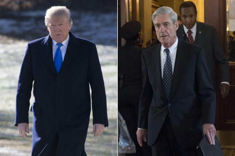 Toen de advocaat van het Witte Huis hoorde dat Trump (links op de foto) Mueller (rechts) wou ontslaan vanwege mogelijke belangenvermenging stelde hij zijn veto. Hij waarschuwde voor de rampzalige gevolgen voor Trumps presidentschap. Daarop krabbelde Trump terug. Beeld AFP