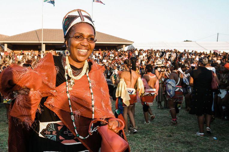 Koningin Mantfombi op een archieffoto.  Beeld AFP