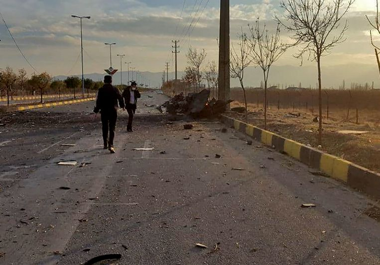 Beeld van de Iraanse staatstelevisie van de aanslag. Beeld AFP