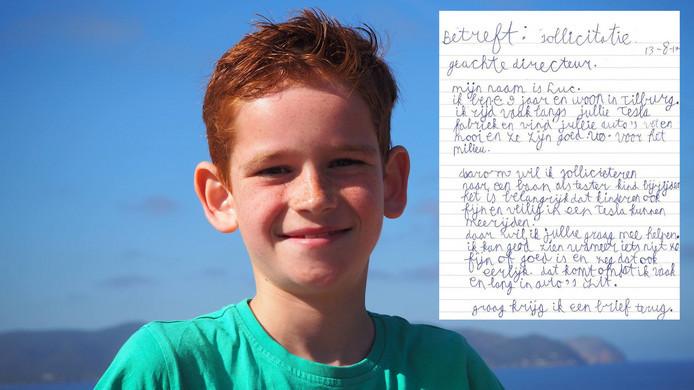 De 9-jarige Luc uit Tilburg stuurde een sollicitatiebrief naar autofabrikant Tesla.