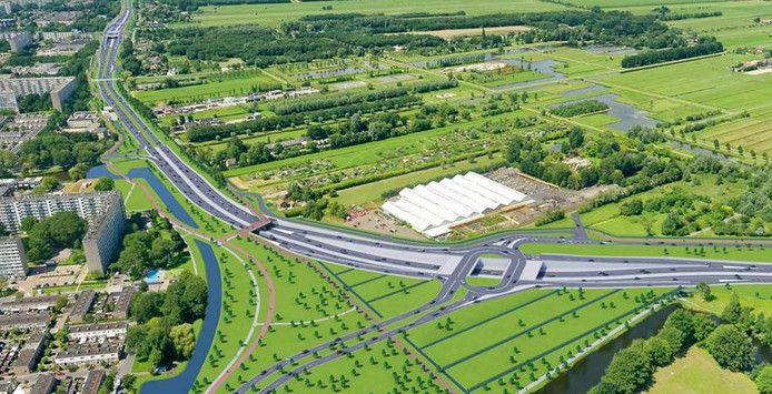 Een impressie van het toekomstig Robert Kochplein in de nieuwe Noordelijke Randweg. Boven de weg is tuincentrum Steck zichtbaar, links de flats van Overvecht en onderaan een deel van Fort Blauwkapel.