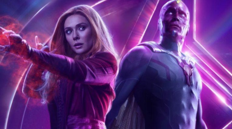 Elizabeth Olsen en Paul Bettany in 'WandaVision' Beeld Marvel