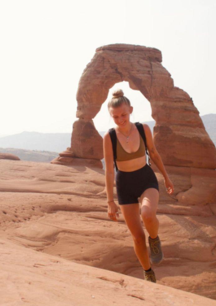 Gabby in Arches National Park op maandag 9 augustus.