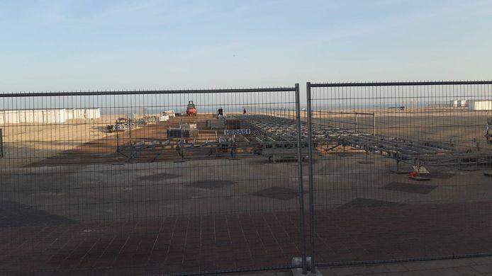 De opbouw van de startzone voor het WK tijdrijden is begonnen.