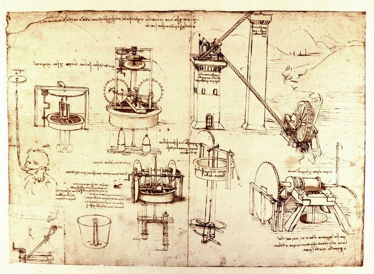 Hydraulische machines van Leonardo da Vinci (1452 - 1519).  Beeld BELGAIMAGE