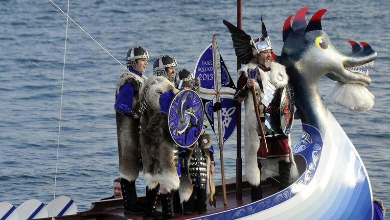 Een vikingsfeest op de Shetland-eilanden Beeld AFP