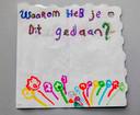 Eén van de vele kaartjes geschreven door kinderen.