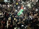 Palestijnen vieren het ingaan van het bestand in het zuiden van de Gazastrook.