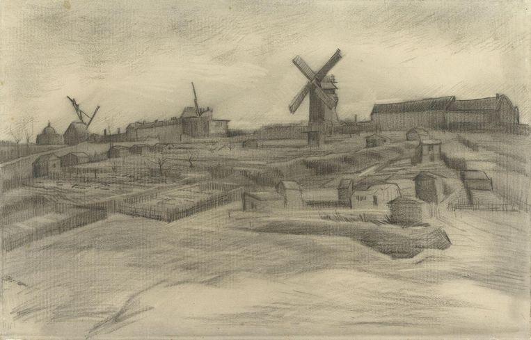 Vincent van Gogh - De heuvel van Montmartre (maart 1886). Zwart krijt, geveegd en gegumd, op vergépapier met watermerk PL BAS, 31,8 x 47,8 cm. Beeld Vincent van Gogh Stichting