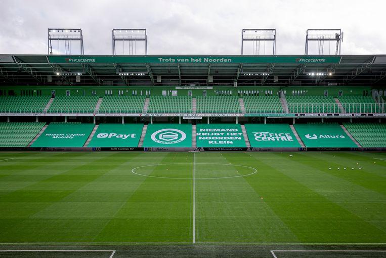 Vanwege de verscherpte coronamaatregelen mochten er geen supporters aanwezig zijn bij FC Groningen tegen Ajax.  Beeld BSR Agency