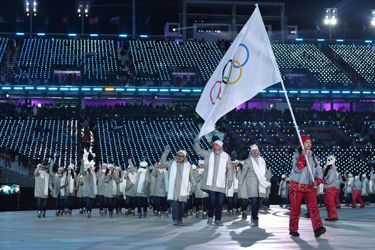 De Russische delegatie tijdens de Olympische Winterspelen in Pyeongchang in 2018. De Russische sporters deden toen niet mee onder de Russische, maar onder de olympische vlag. Beeld AFP