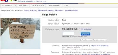 """""""A vendre: neige fraîche pour ne pas aller travailler"""""""