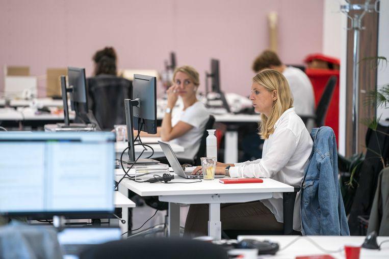 Medewerkers van onlinesupermarkt Picnic op kantoor. Beeld ANP